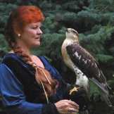 Gwilda Wiyaka with hawk